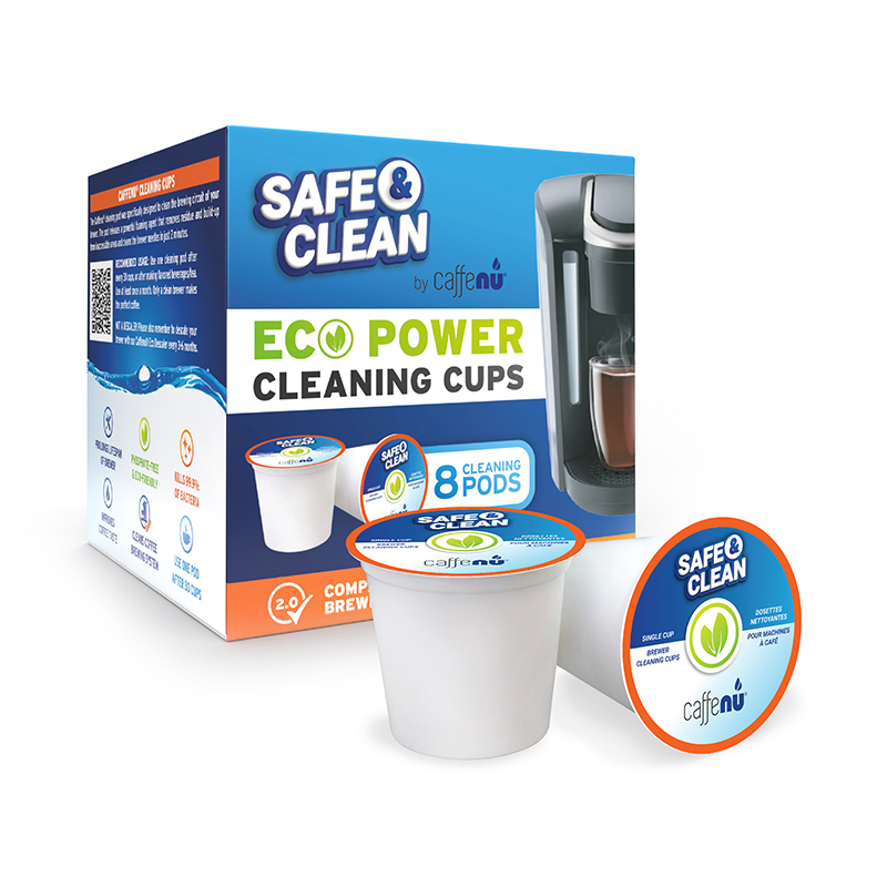Caffenu Safe and Clean Keurig KCup Cleaning Cups Box and Product